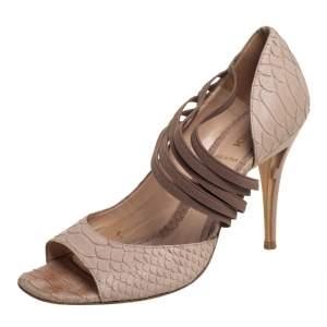 Fendi Beige Python Embossed Leather Open Toe Pumps Size 37