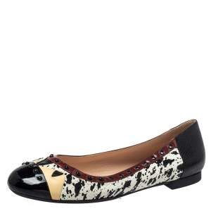 Fendi Multicolor Python/Lizard Embossed Leather And Patent Leather Trim Cap Toe Monster Ballet Flats Size 41