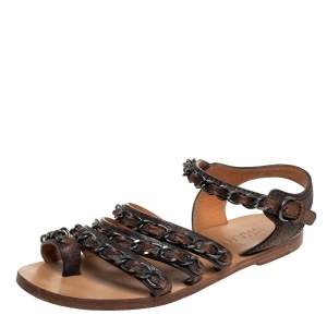 Chanel Brown Leather Chain Flat Sandals Size 37