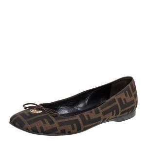 حذاء فلات باليه فندي فيونكة شعار كانفاس زوكا بني مقاس 39.5