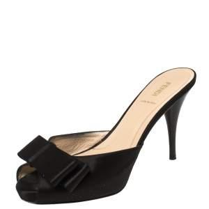 Fendi Black Satin Bow Peep Toe Slide Sandals Size 38.5