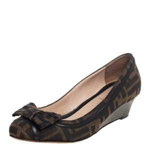 Fendi Brown Zucca Canvas And Leather Trim Bow Wedge Pumps Size 37