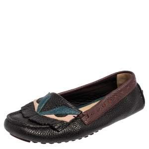 Fendi Multicolor Leather Bug Loafers Size 38.5