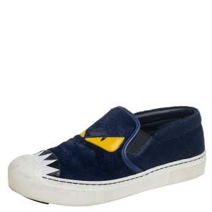 Fendi Blue/White Fur and Leather Monster Slip On Sneakers Size 38