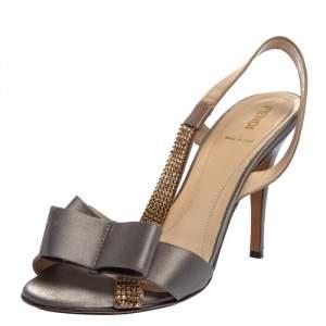 Fendi Grey/Brown Satin Crystal Embellished Bow Slingback Sandals Size 38