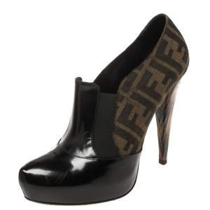 Fendi Black/Brown Patent Leather and Zucca Canvas Booties Size 38