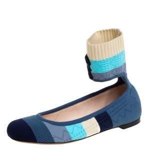 Fendi Multicolor Knit Fabric Rockoko Pointelle Ankle Cuff Ballet Flats Size 37.5