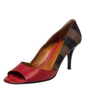 حذاء كعب عالي فندي مقدمة مفتوحة كانفاس بكوين بني وجلد أحمر مقاس 39.5