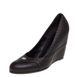 Fendi Dark Brown Leather Wedges Pumps  Size 40