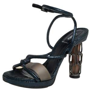 Fendi Metallic Blue Leather Rope Strappy Sandals Size 39.5