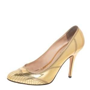 Fendi Gold Patent Leather Pumps Size 38