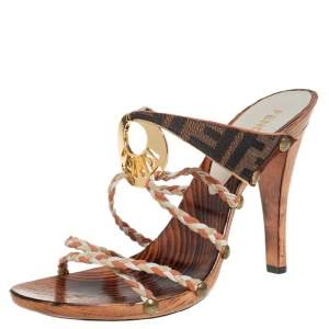 Fendi Multicolor Braided Leather And Zucca Canvas Embellished Slide Sandals Size 37.5