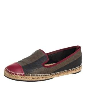 Fendi Red/Beige Canvas And Leather Espadrille Flats Size 39