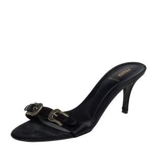 Fendi Black Satin Buckle Embellished Slide Sandals Size 39.5