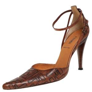 Fendi Brown FF Leather D'orsay Pointed Toe Ankle Strap Pumps Size 38