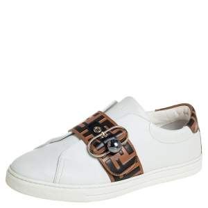 Fendi White/Beige Zucca Leather Low Top Sneakers Size 40