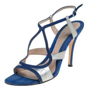Fendi Blue/Silver Leather And Suede Strappy Sandals Size 37.5
