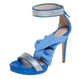 Fendi Blue Embellished Leather And Fabric Open Toe Ankle Cuff Sandals Size 38.5