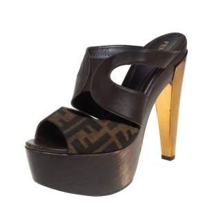 Fendi Brown Zucca Canvas And Leather Wooden Platform Slide Sandals Size 38