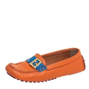 Fendi Orange/Blue Leather And Croc Embossed Leather FF Logo Slip On Loafers Size 37