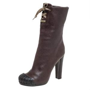 Fendi Grey Embossed Leather Lace Up Detail Mid Calf Boots Size 40