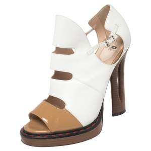 Fendi White/Tan Leather And Patent Cut Out Ankle Strap Sandals Size 40