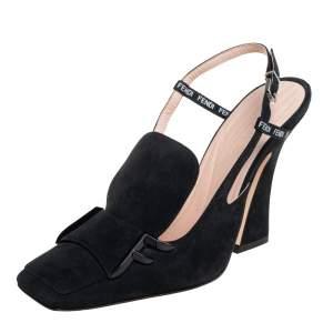 Fendi Black Suede FFreedom Sandals Size 37
