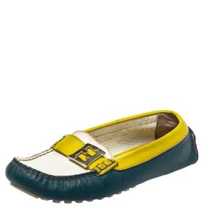 Fendi Multicolor  Leather  Slip On FF Logo Loafers Size 36