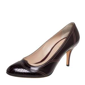 Fendi Burgundy Leather Perforated Brogue Detail Pumps Size 39.5