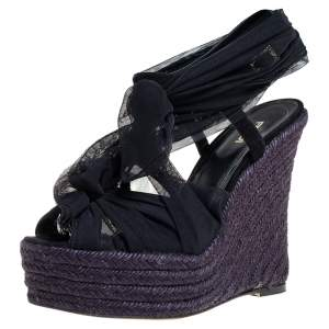 Fendi Black Fabric and Suede Wedge Espadrille Tie Up Sandals Size 38