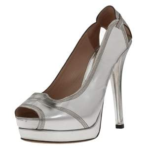 Fendi Silver Patent Leather Peep Toe  Pumps Size 38.5