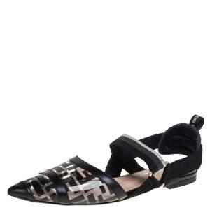 Fendi Black Leather And PVC Colibri Slingback Flat Sandals Size 41
