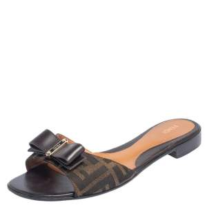 Fendi Zucca Canvas and Leather Bow Slide Flats Size 41