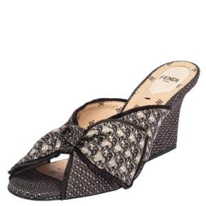 Fendi Brown Fabric Knotted Mule Sandals Size 39