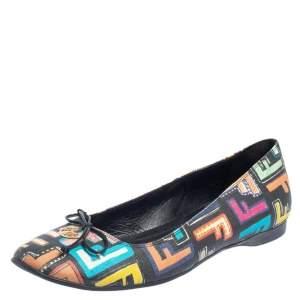 Fendi Multicolor Zucca Spalmati Coated Canvas Ballet Flats Size 38