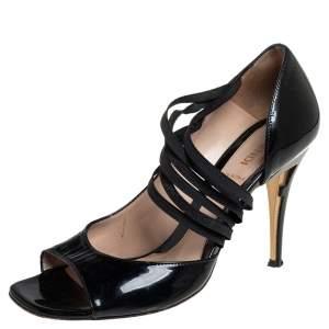 Fendi Black Patent Leather Open Toe Pumps Size 37.5