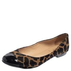 Fendi Brown/Black Patent Leather And Canvas Leopard Print Cap Toe Ballet Flats Size 41