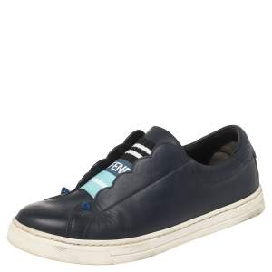 Fendi Blue Leather And Logo Knit Rockoclick Slip On Sneakers Size 36