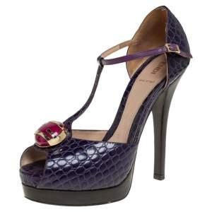Fendi Purple Croc Embossed Leather Embellished T-Strap Platform Sandals Size 38.5