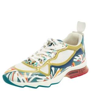 Fendi Multicolor Mesh And Leather Ffast Low Top Sneakers Size 38.5