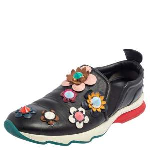 Fendi Black Leather Flowerland Low Top Sneakers Size 41