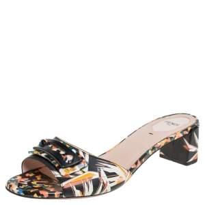 Fendi Multicolor Color Leather Stud Open Toe Slide Sandals Size 40