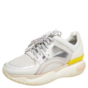 Fendi White Mesh And Leather Low Top Sneakers Size 38