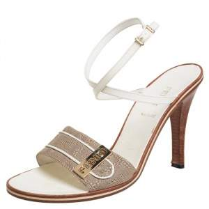Fendi Beige/White Canvas And Leather Ankle Strap Sandals Size 39.5