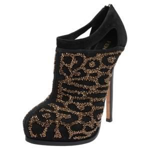 Fendi Black Suede Crystal Embellished Platform Ankle Booties Size 38.5