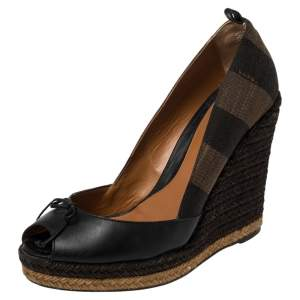 Fendi Tobacco Zucca Canvas And Leather Bow Espadrille Wedge Platform Pump Size 39