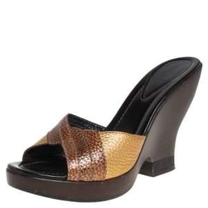 Fendi Metallic Gold Leather Open Toe Wedge Slide Sandals Size 40.5