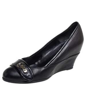 Fendi Black Leather Slip On Wedge Pumps Size 37.5