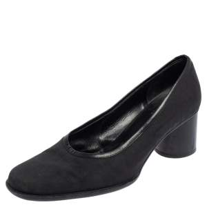 Fendi Black Zucca Canvas And Leather Pumps Size 37.5