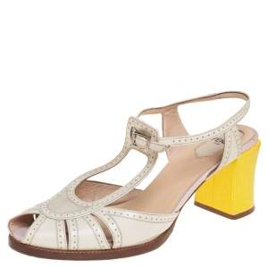 Fendi Yellow/Cream Leather Chameleon T-Strap Sandals Size 38.5